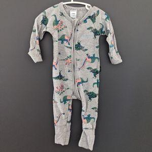 Bonds Wondersuit sleeper gray with dinosaur print